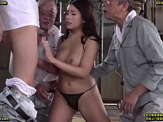 sexy lady and three oldmen