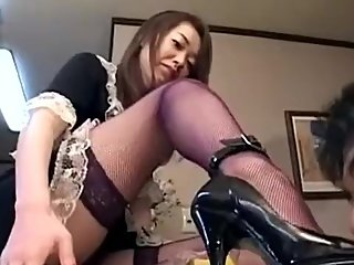 Japanese maid black heels and food feeding