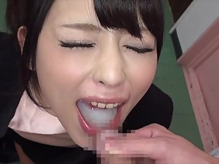 Japanese cutie swallows Huge cum eruption from tiny dick