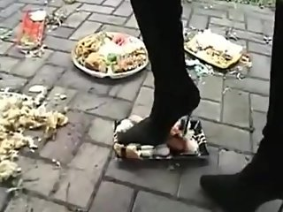 Japanese girl in boots crushing food-Walkover