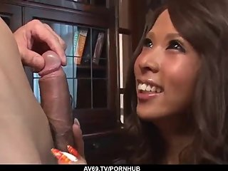 Ema Kisaki bends for cock and takes it in both holes - More at 69avs com