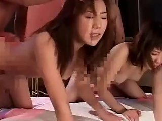 japanese two high school girls side by side doggystyle hard