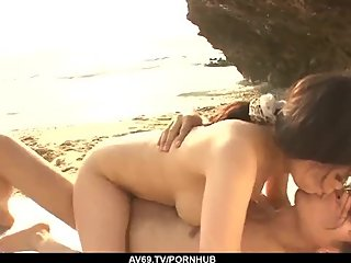 Kyouko Maki fucked by the beach and made to swallo - More at 69avs com