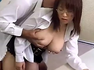 japanese office lady standing doggystyle hard
