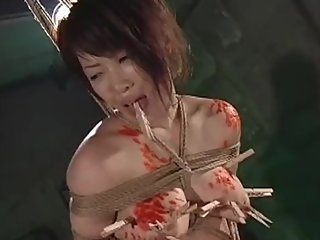 Put clothespin on Jap slave Kaede's tits & whip her until she cries