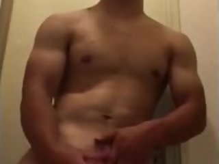 Japanese handsome boy masturbates with his girlfriend in the bathroom (full