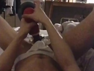 Nerd roommate morning jerk off with fleshlight cups and popper