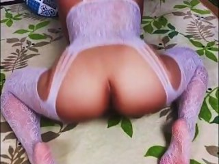 Japanese Hottie Twerking and Shaking Her Booty in White Bodystocking