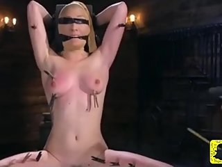 Blonde slave gets tits whipped to red 720hd