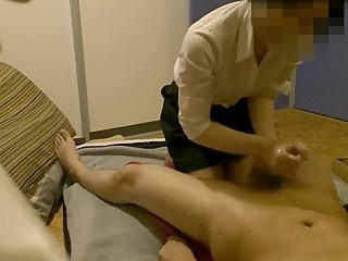 Hidden cam Japanese Handjob massage compilation 10